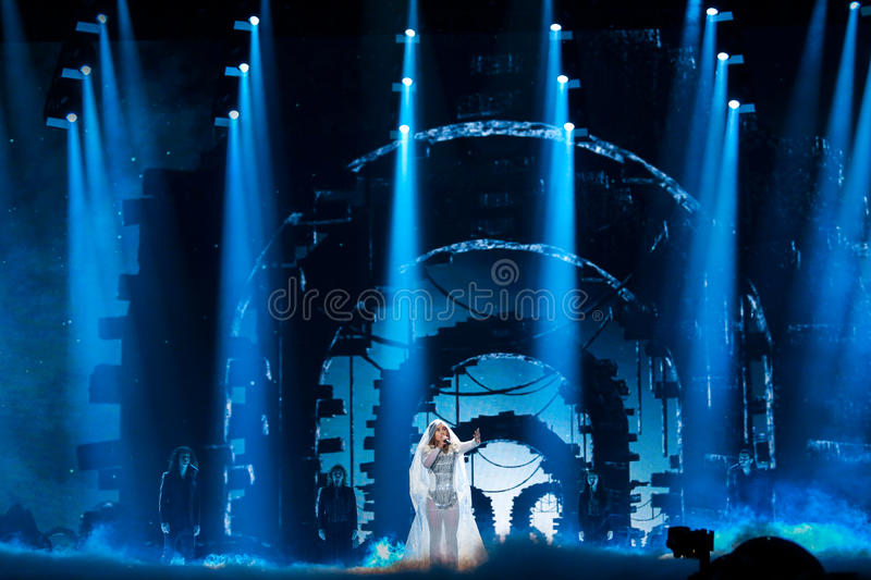 Lindita from Albania at the Eurovision Song Contest. KYIV, UKRAINE - MAY 08, 2017: Lindita from Albania at the first semi-final rehearsal during Eurovision Song stock photo