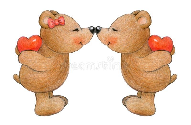 Lindo, besando osos stock de ilustración
