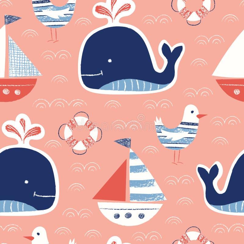 Lindo caprichoso, a mano con los creyones, ballena, nave, gaviota, modelo inconsútil del vector del salvavidas Criaturas náuticas libre illustration