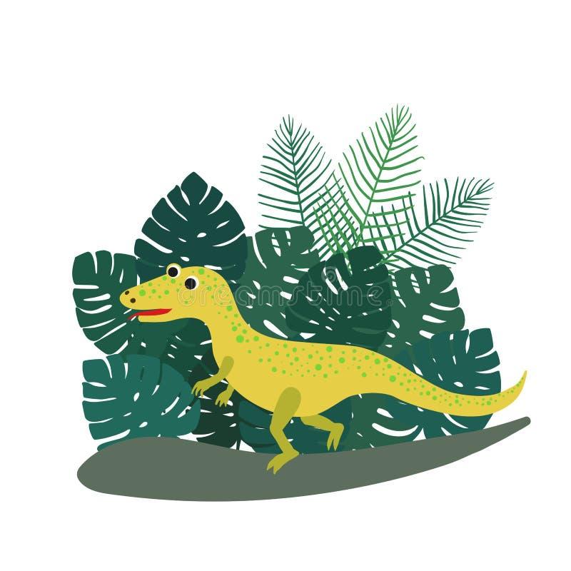 Lindo, ceratosaurus del dinosaurio de la historieta en el fondo de los arbustos de hojas de palma tropicales Ilustraci?n del vect ilustración del vector