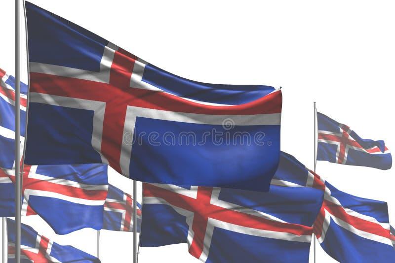 Lindo cualquier ejemplo de la bandera 3d del día de fiesta - muchas banderas de Islandia son onda aislada en blanco stock de ilustración