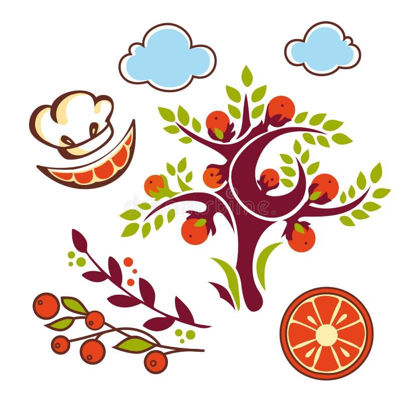 Lindo determinado de la naranja ilustración del vector