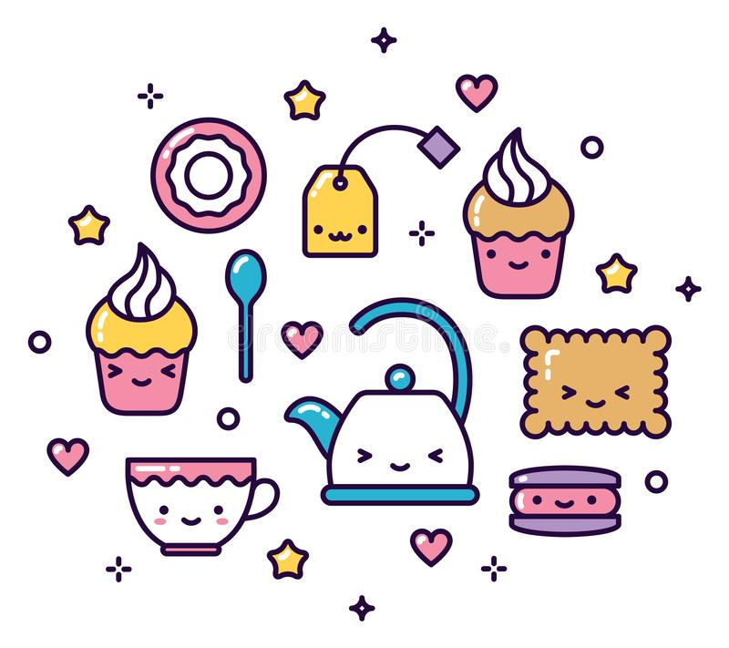 Lindo en colores pastel de los artículos de la fiesta del té de Kawaii aislado stock de ilustración