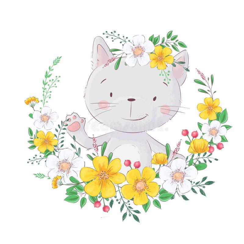 Lindo, gato de la historieta En el marco de flores Para las impresiones del dise?o, carteles y as? sucesivamente Vector libre illustration