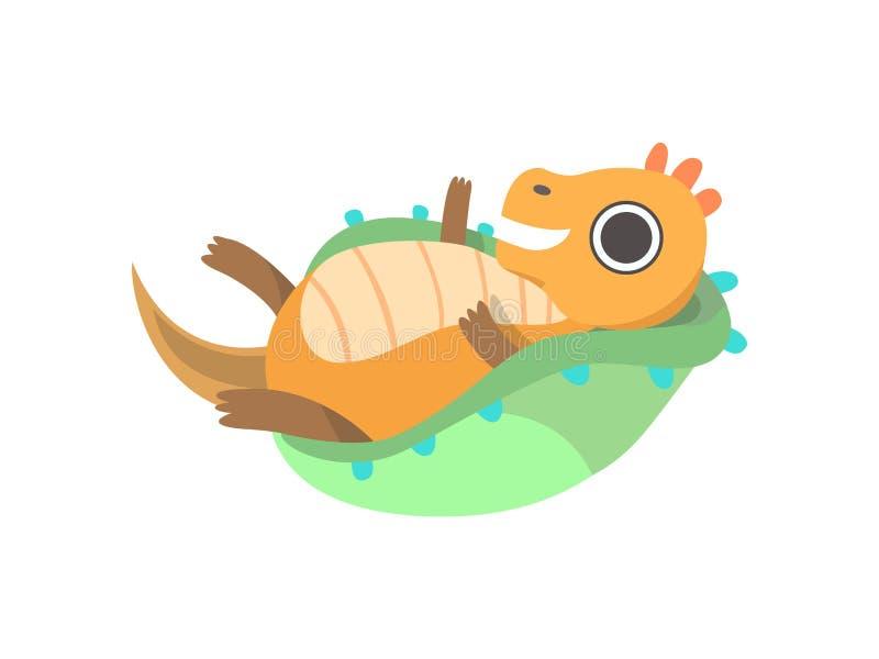 Lindo poco Dino Lying en la cuna del bebé, ejemplo adorable del vector del carácter del dinosaurio del bebé ilustración del vector