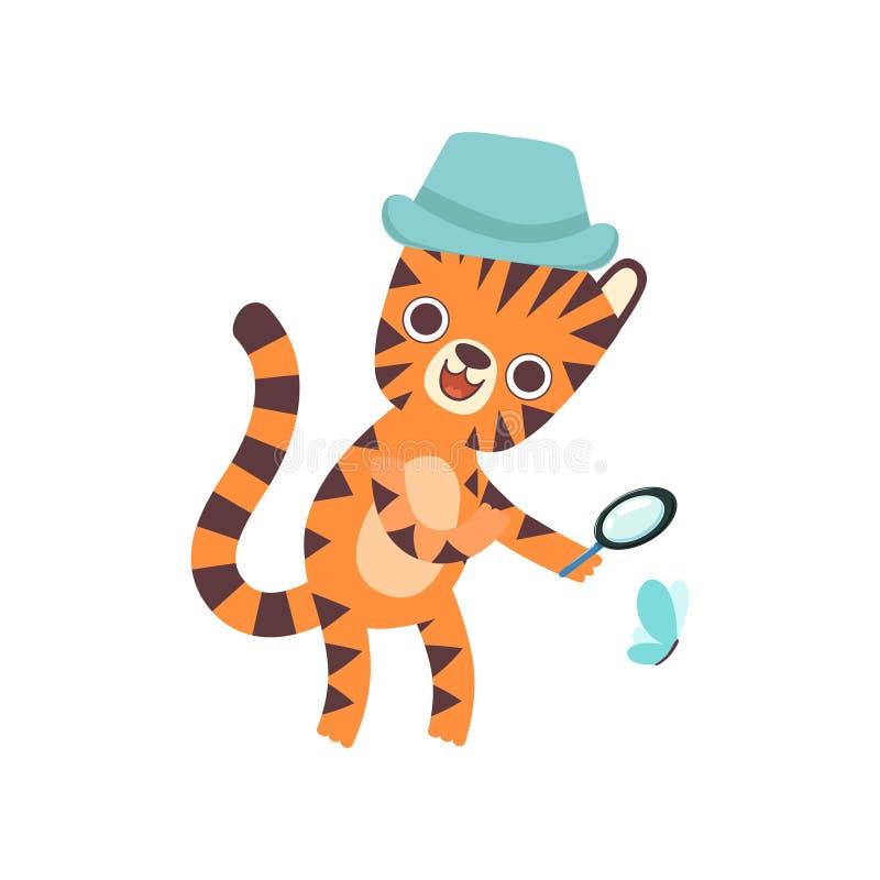 Lindo poco Tiger Wearing Panama Hat Looking a través de la lupa en la mariposa, historieta animal salvaje adorable stock de ilustración