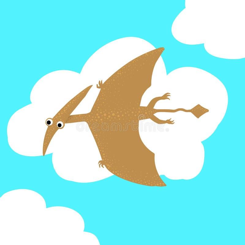 Lindo, pterosaur del dinosaurio de la historieta en el fondo de los arbustos de hojas de palma tropicales Ilustraci?n del vector stock de ilustración