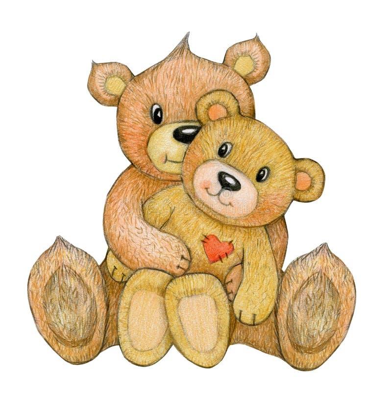Lindo, sentándose, osos de abrazo libre illustration