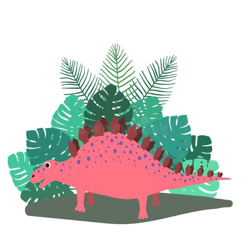 Lindo, stegosaurus del dinosaurio de la historieta en el fondo de los arbustos de hojas de palma tropicales Ilustraci?n del vecto stock de ilustración