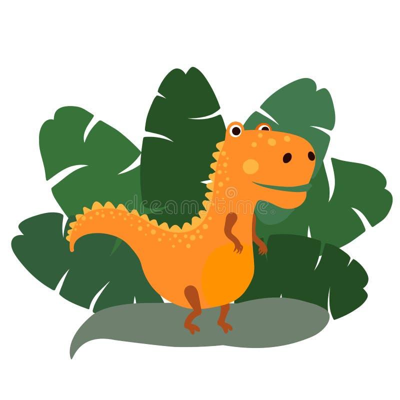 Lindo, tyrannosaur del dinosaurio de la historieta en el fondo de los arbustos de hojas de palma tropicales Ilustraci?n del vecto ilustración del vector