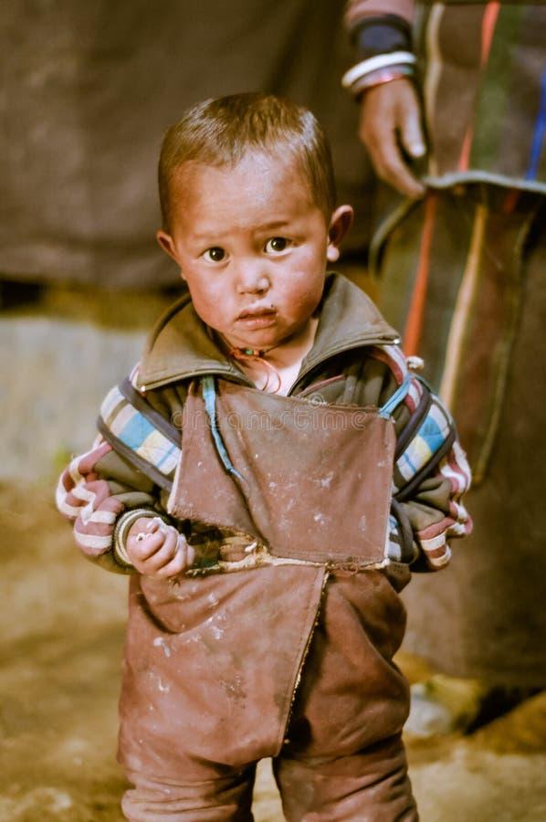 Lindo y curioso en Nepal foto de archivo