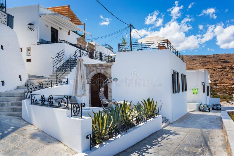 Lindos村庄罗得岛,希腊议院/别墅  库存照片