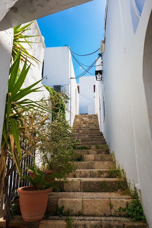 Lindos村庄街道有传统房子和别墅Rh的 图库摄影