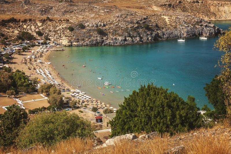 Lindos海湾罗得岛希腊 免版税图库摄影