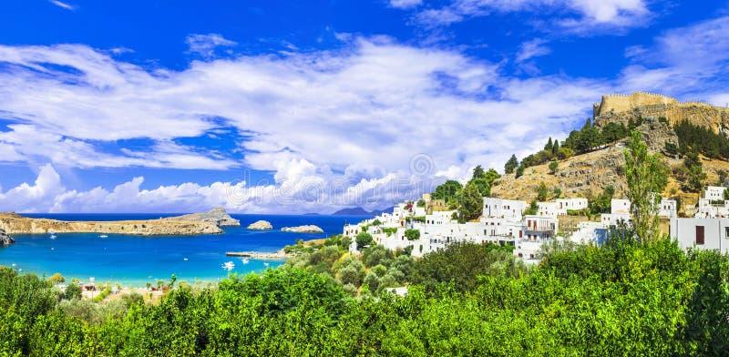Lindos海湾,罗得岛,希腊全景  图库摄影
