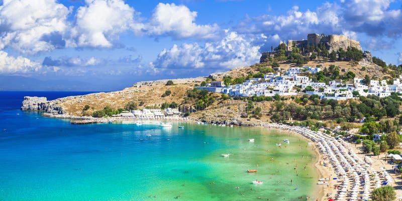 Lindos海湾,罗得岛,希腊全景  免版税图库摄影