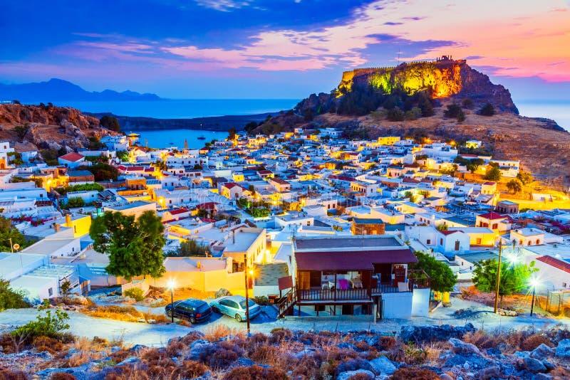 Lindos,上城在罗得岛,希腊 图库摄影