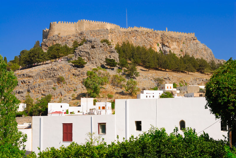 lindos Греции акрополя стоковая фотография rf