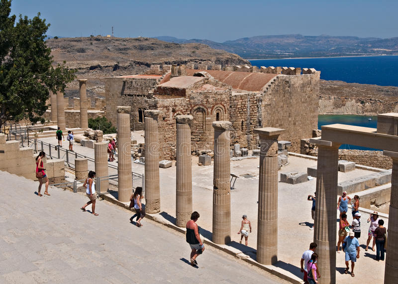 Lindos acropolis stock photography
