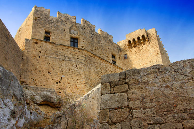Lindos Acropolis.Greece, Rhodes,. Greece, Rhodes, Lindos Acropolis.Landscape in a sunny day royalty free stock images