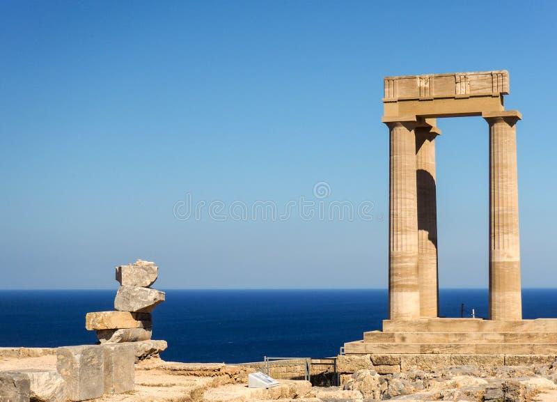 Lindos Acropolis, Rhodes, Greece. Acropolis inside in Lindos, Rhodes stock photo