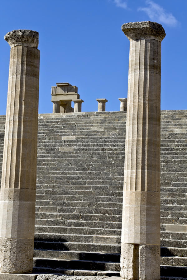 Lindos Acropolis At Rhodes Island, Greec Stock Photo