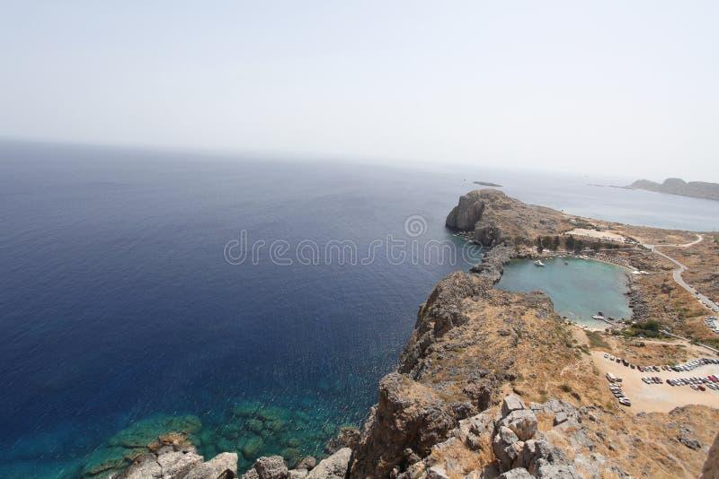 Lindos Agios Pavlos fjärd, Rhodes ö, Grekland royaltyfria bilder