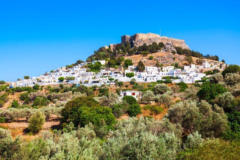 Lindos akropol i den Rhodes ön royaltyfria bilder