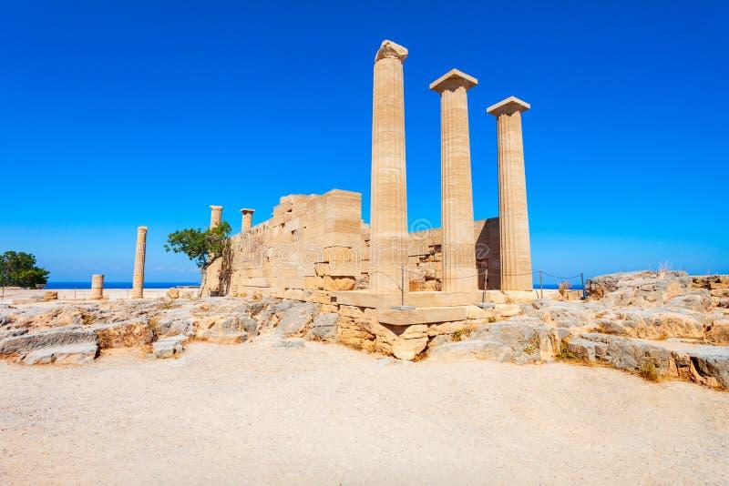 Lindos akropol i plaża, Rhodes obraz royalty free
