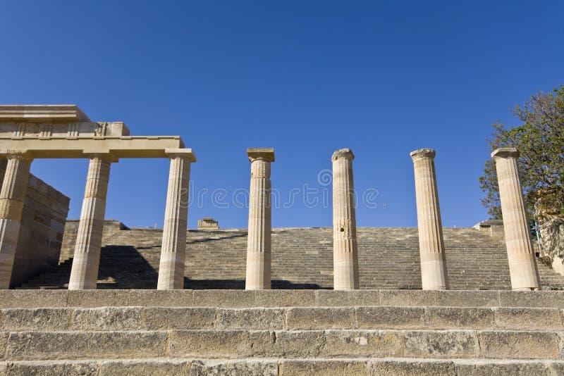 Lindos Akropolis in Rhodos-Insel, Greec stockbilder