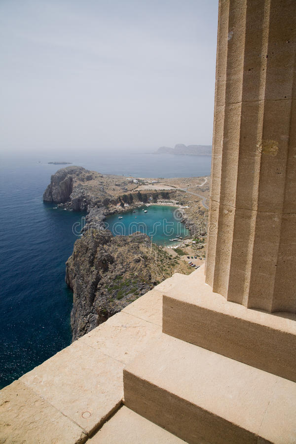 Lindos Bay and Acropolis stock photos