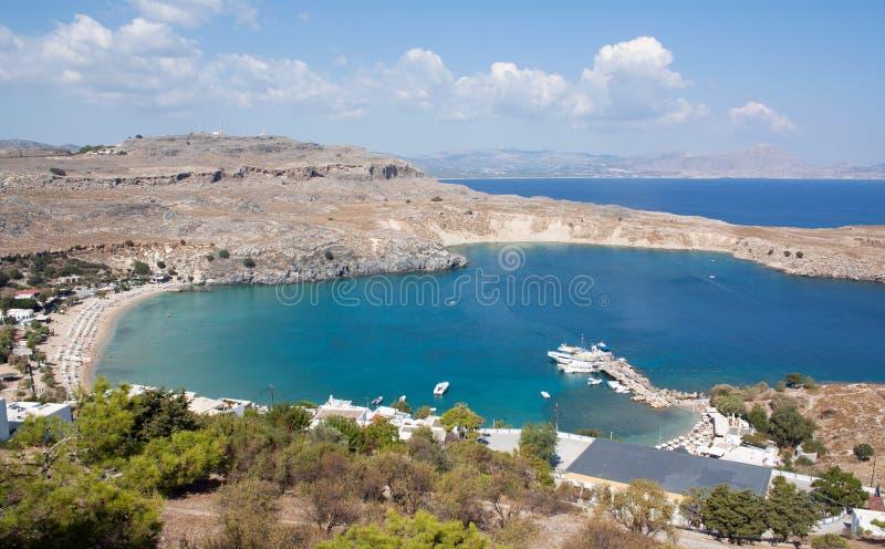 Lindos Bay, Rhodes, Greece stock photo