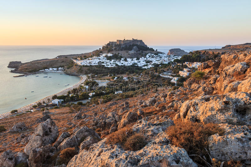 Lindos Castle and village. Lindos with the castle above on the Greek Island of Rhodes royalty free stock images