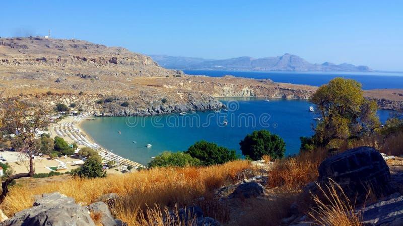Lindos fjärd, Rhodes Island, Grekland royaltyfria bilder