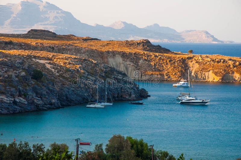 Lindos, Greece - August 11, 2018: bay of St. Paul, Rodos, Greece royalty free stock images