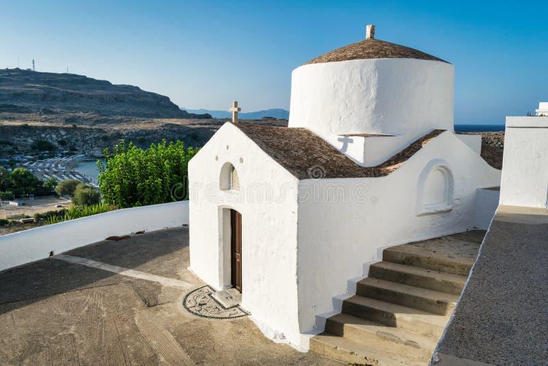 Lindos Greek Church at Dusk stock photography