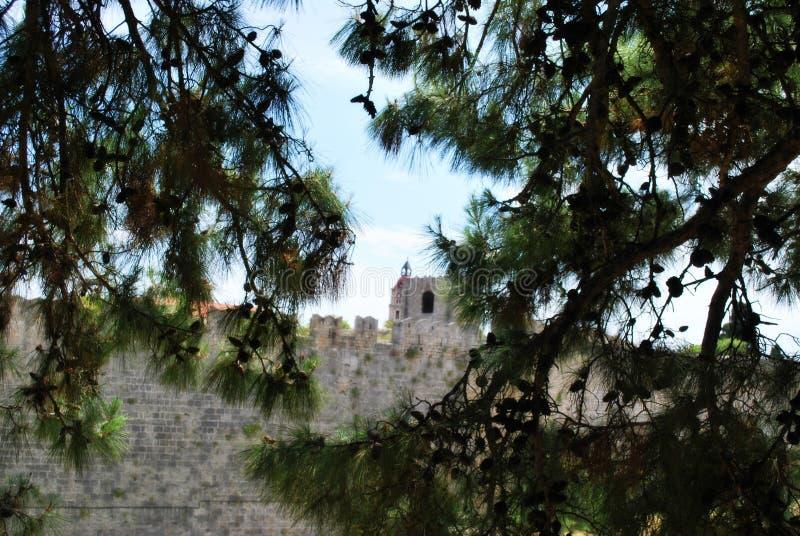 Lindos, Griechenland, Esel, Phodes-Insel Griechenland-Schloss lizenzfreie stockbilder