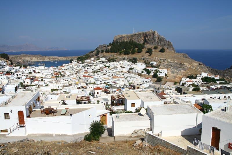 Lindos miasteczko w Rhodes wyspie obraz royalty free
