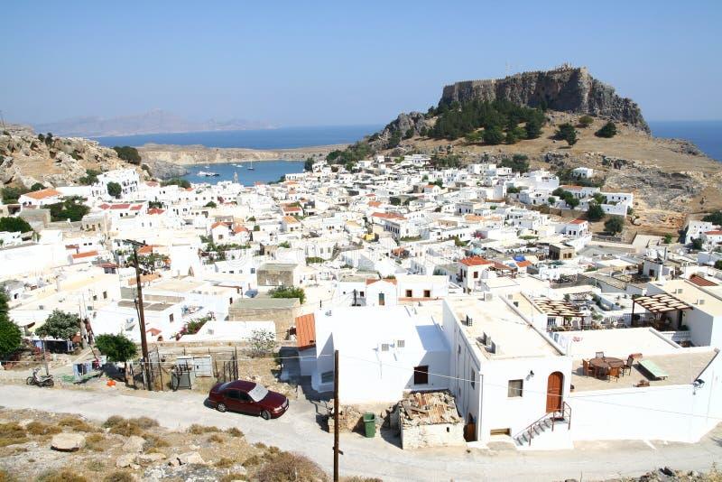 Lindos miasteczko w Rhodes wyspie obrazy stock
