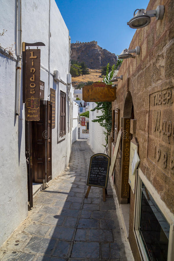 Lindos Narrow Street at Rhodes Island stock photography