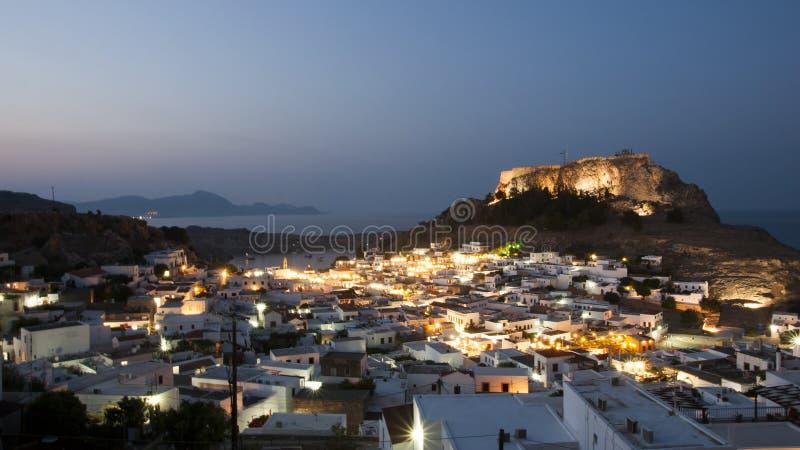 Lindos at night. Ancient town Lindos at night, Rhodes, Greece royalty free stock images