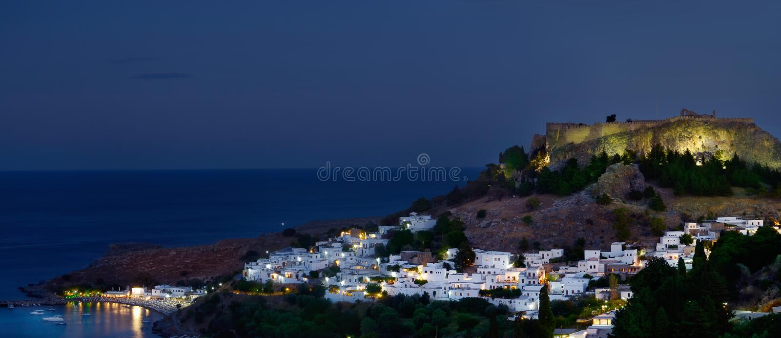 Lindos by night royalty free stock photo