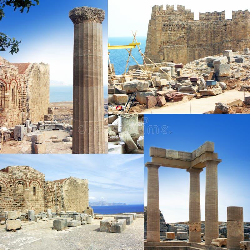 lindos rhodes Греции акрополя стоковые фотографии rf