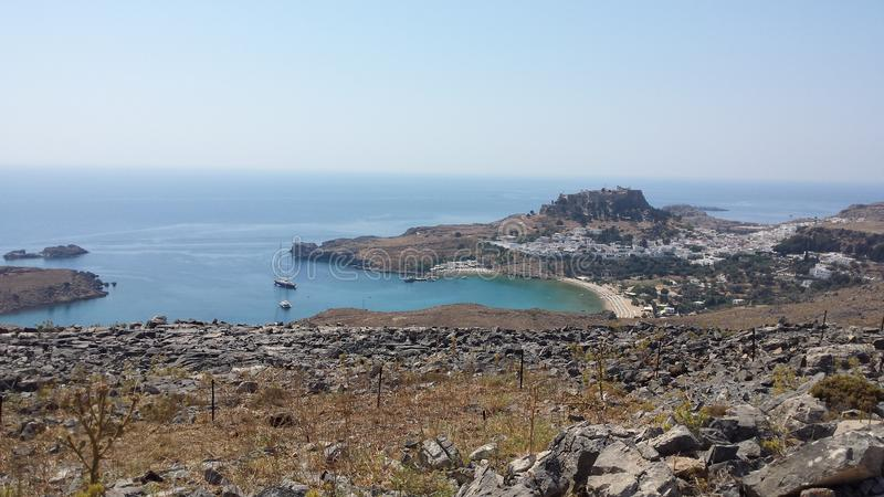 lindos rhodes острова Греции залива стоковое фото rf