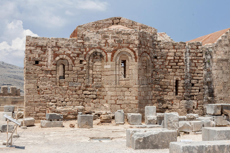 Lindos Rhodes Greece Church Ruins royalty free stock images