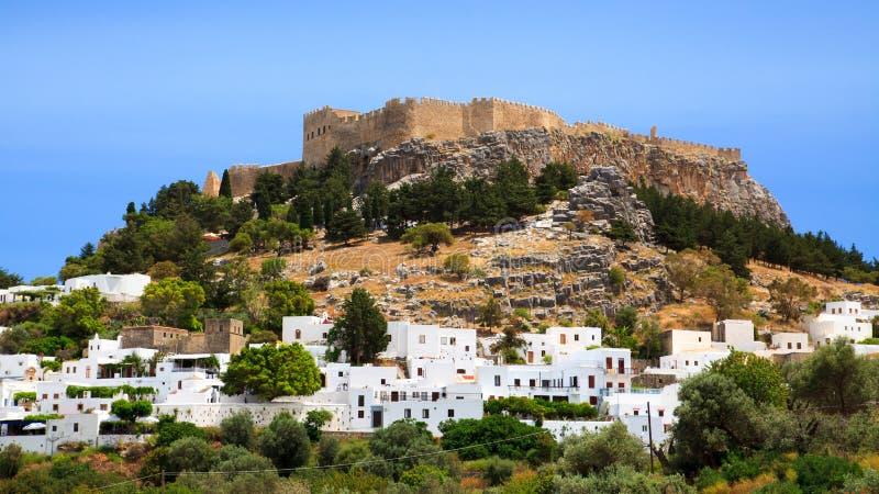 Lindos Rhodes Greece Europe. Village and castle at Lindos Rhodes Greece Europe royalty free stock image