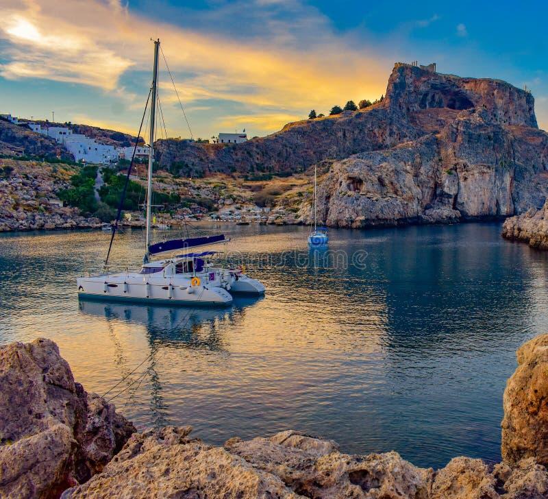 ST Paul`s bay,and horizon Aegean sea. LINDOS,RHODES/GREECE NOVEMBER 1 2018 : ST Paul`s bay,and horizon Aegean sea stock photo
