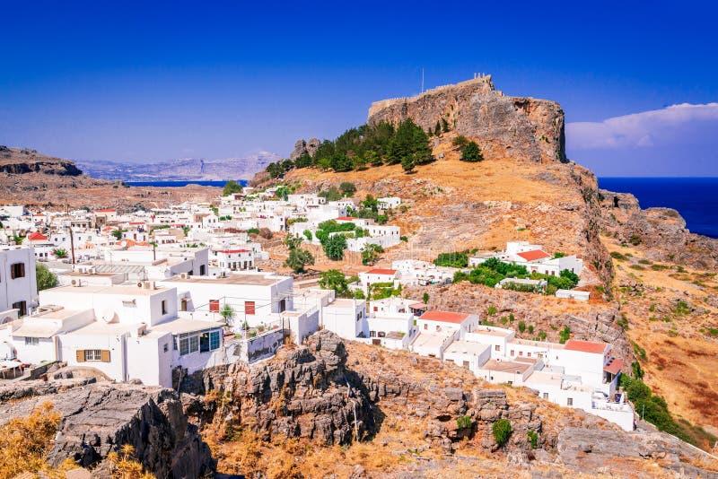 Lindos Rhodes, grekiska öar - akropol royaltyfria bilder