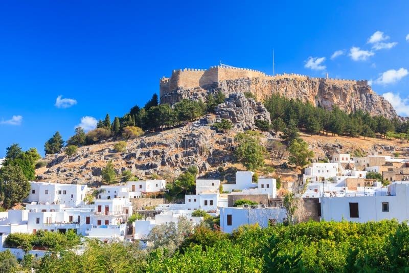 Lindos Rhodos Griekenland stock foto's