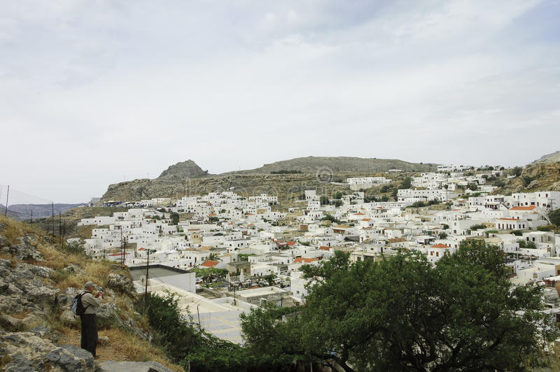 Lindos scenic view royalty free stock images